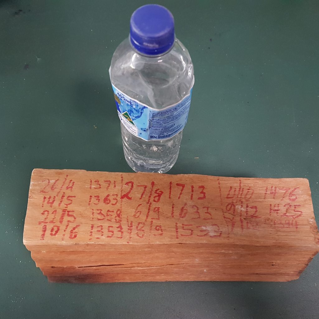 A water bottle with the water that had come out of a piece of wood over 12 months