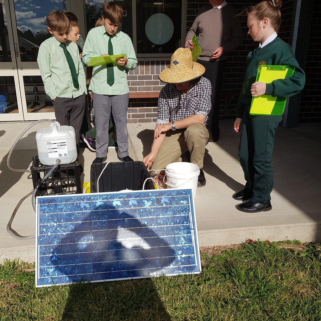 St Josephs students learning how solar panels work.