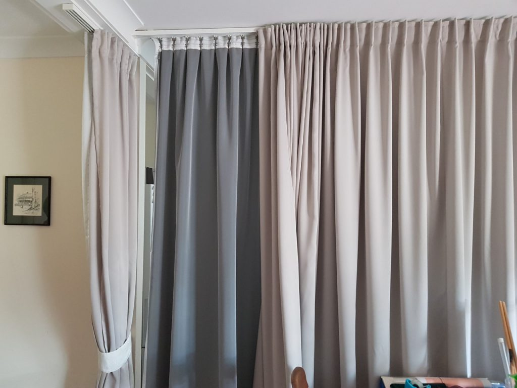 Curtain used to closed off part of a room