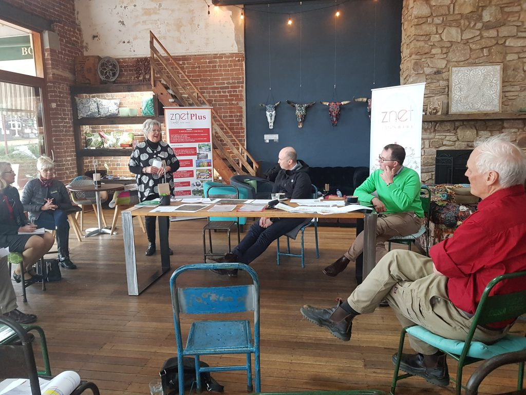 "ZNET Vice President Carol Shantal giving a presentation to NSW Ministers Matt Kean and Adam Marshall, council members and ZNET executive on our new project ""Uralla - Lets talk about Water"""